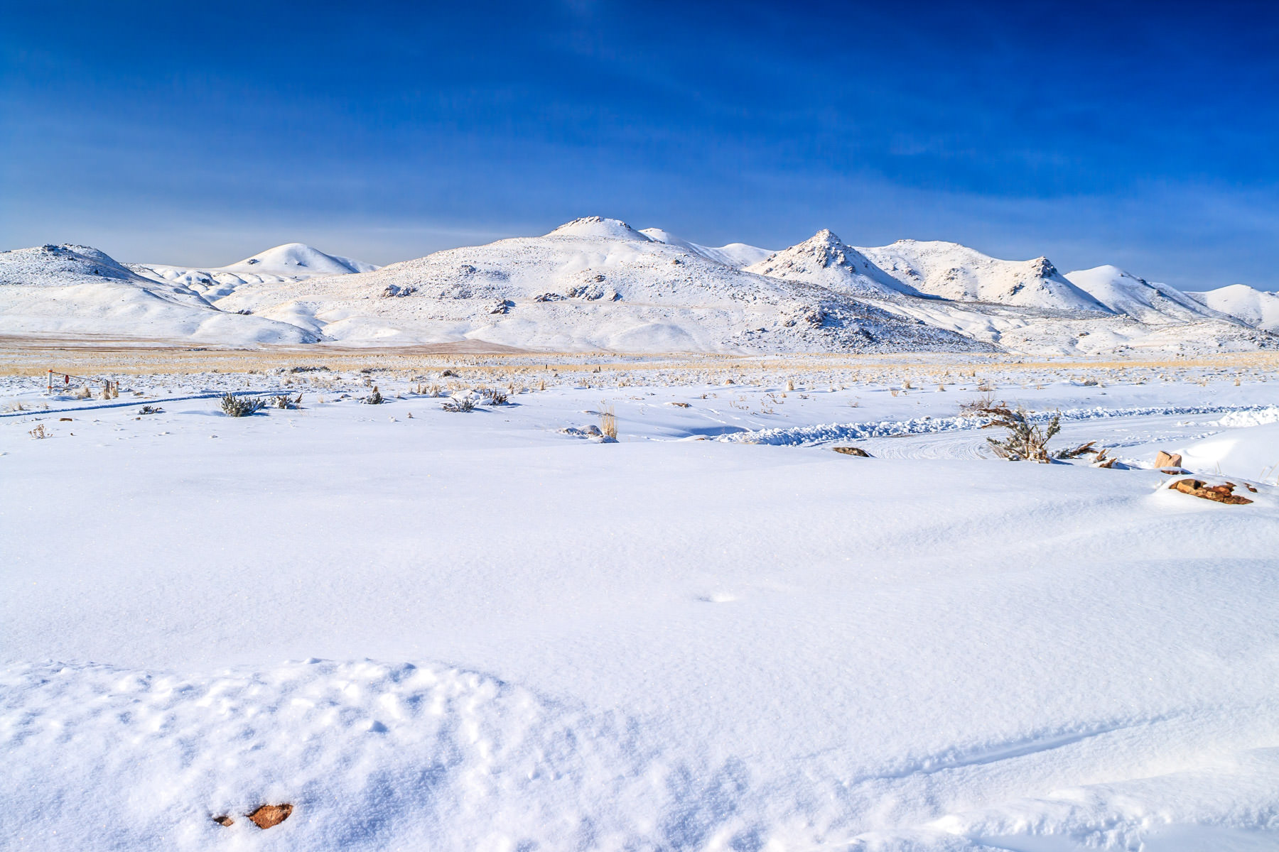 Snow covers the ground at Antelope Island State Park, Utah.