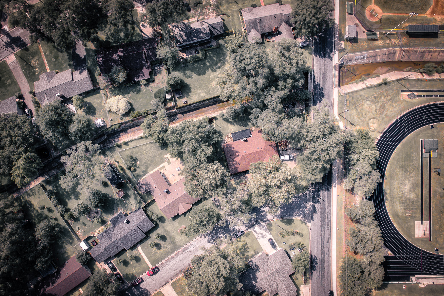 An aerial view of a neighborhood in Tyler, Texas.
