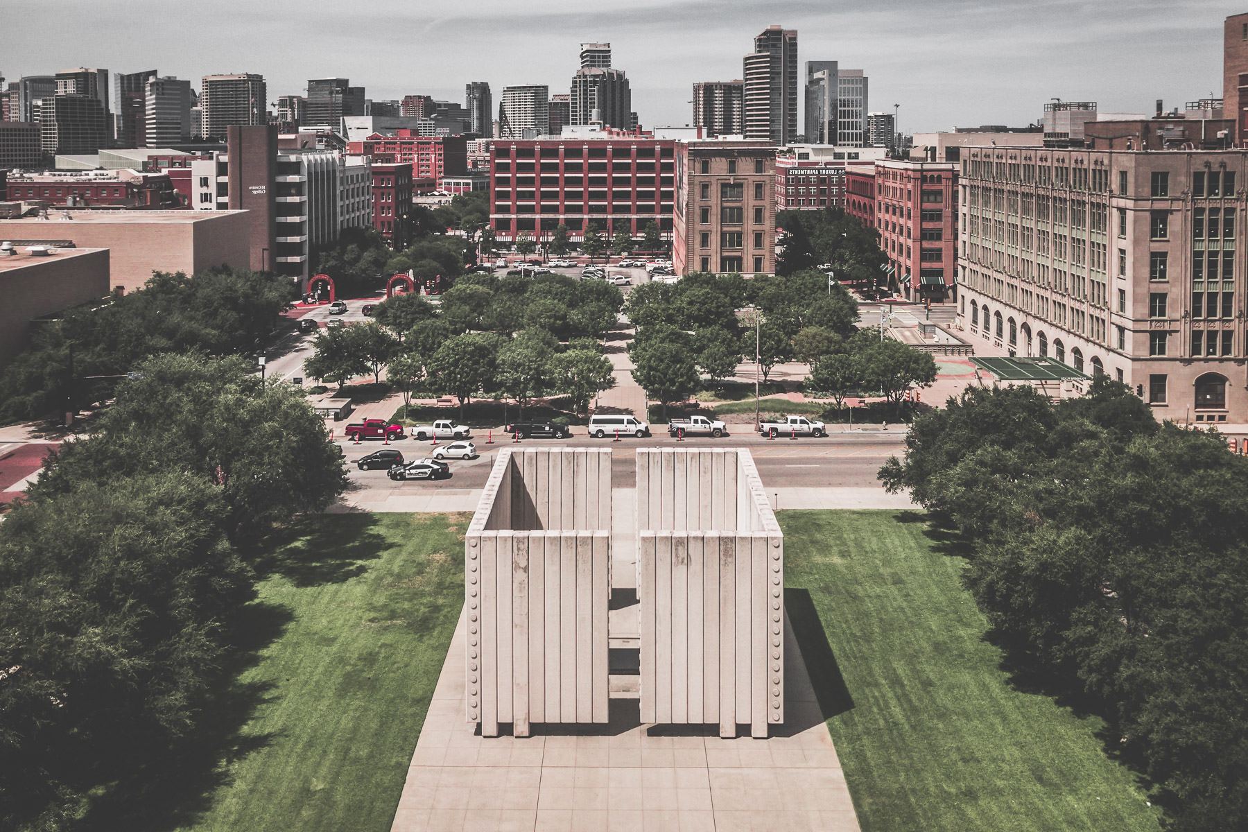An aerial view of Dallas'—the site of his assassination—memorial to President John F. Kennedy, a cenotaph designed by architect Philip Johnson.