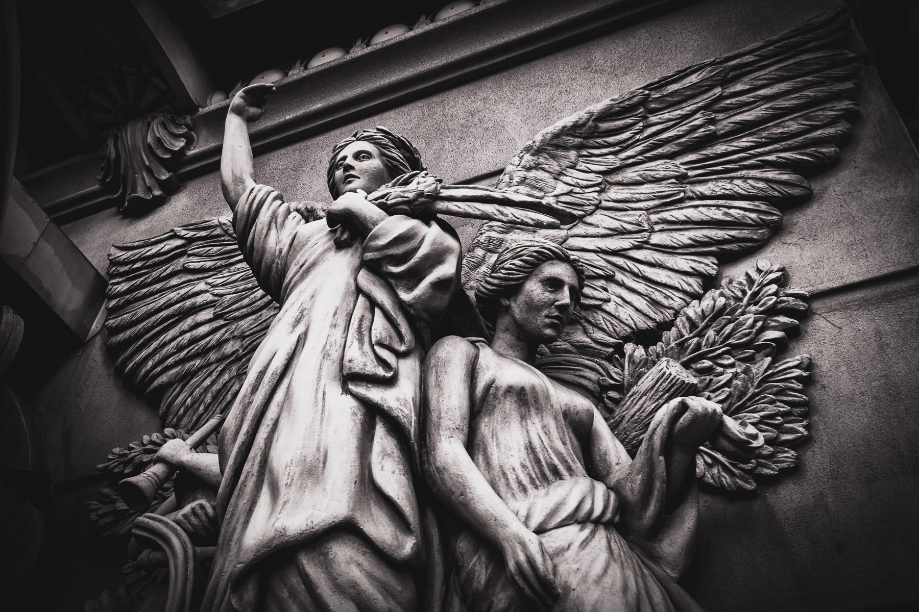 Carved angels decorate the exterior of Paris Las Vegas.