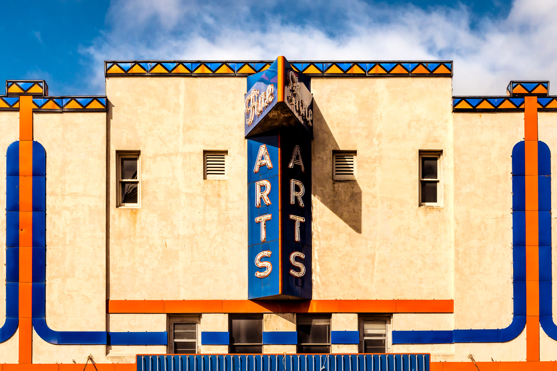 The sign and facade of the Fine Arts Theatre in Downtown Denton, Texas.