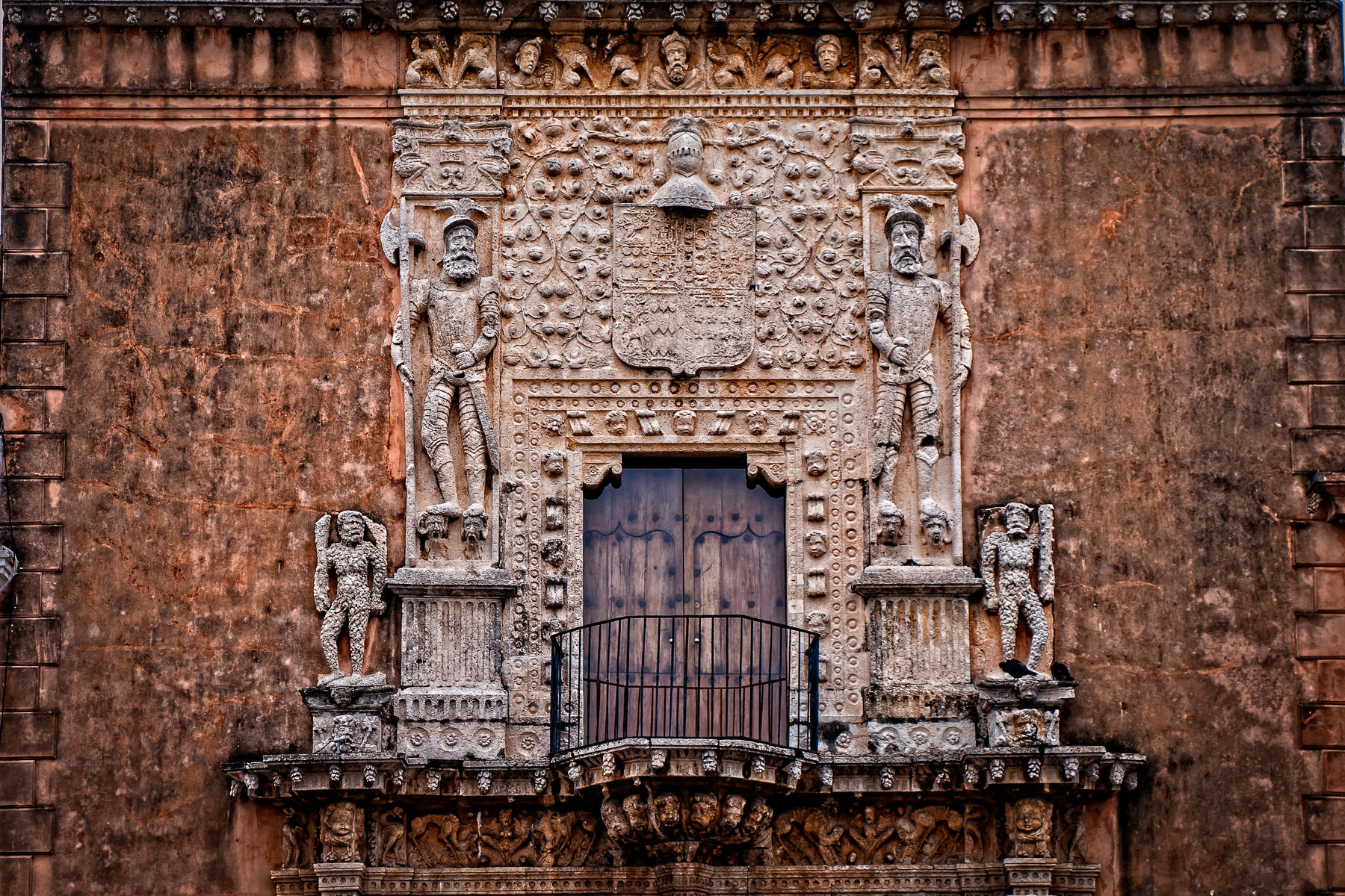 Detail of the facade of the Museo Casa Montejo, Merida, Mexico.