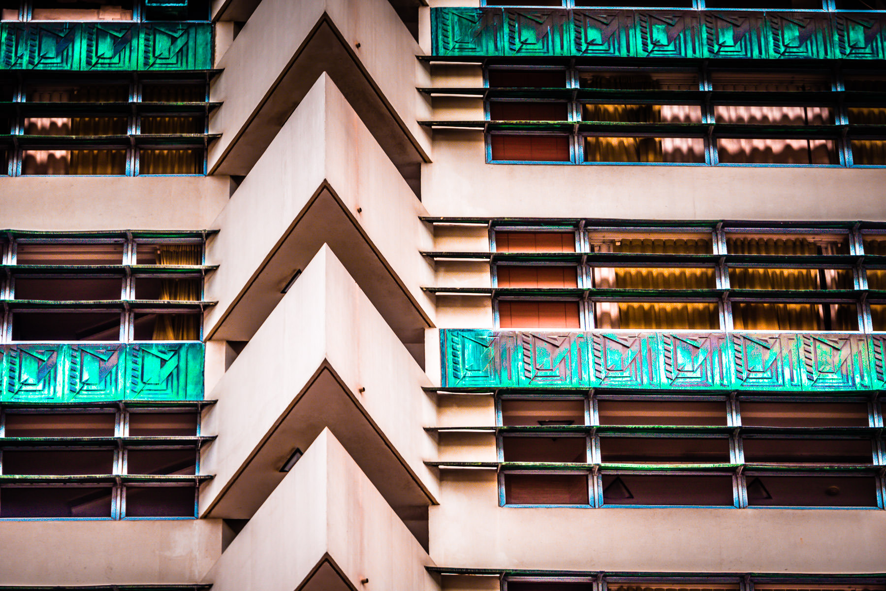 Architectural detail of the Frank Lloyd Wright-designed Price Tower in Bartlesville, Oklahoma.