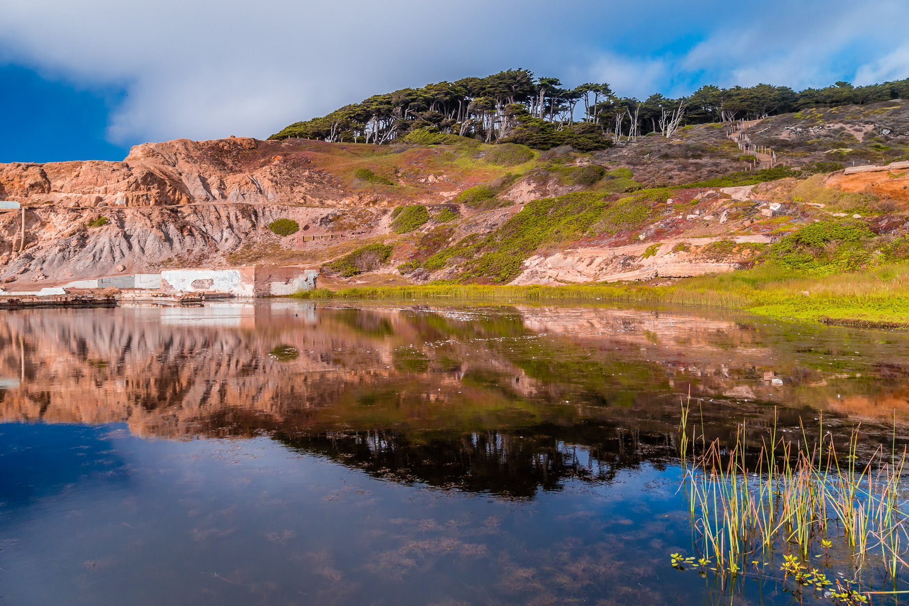A portion of the ruins of San Francisco' Sutro Baths is reflected in a pond at Lands End.