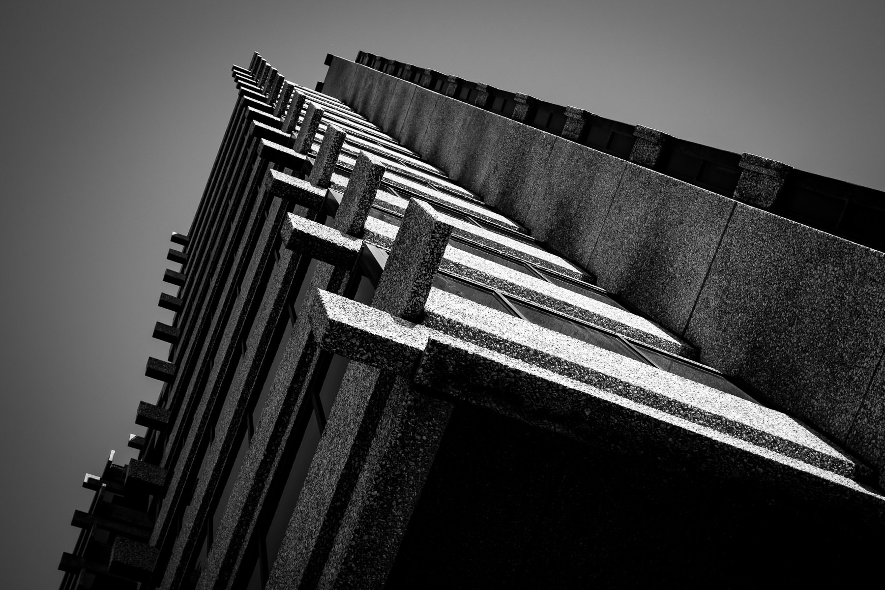Architectural detail of the Pegasus Villas residential tower in Dallas, Texas.