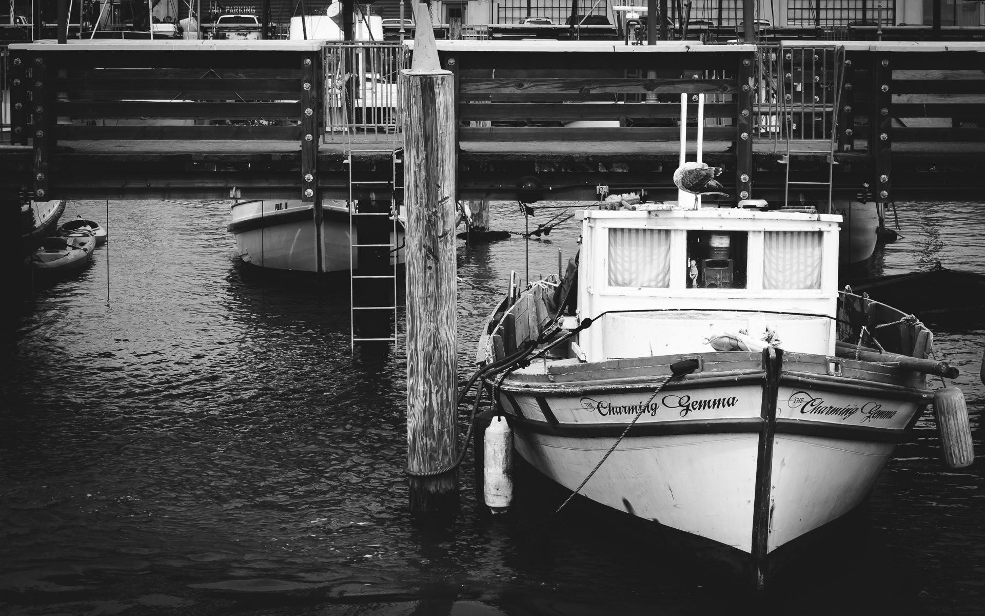A boat docked at a pier in San Francisco's Fisherman's Wharf.
