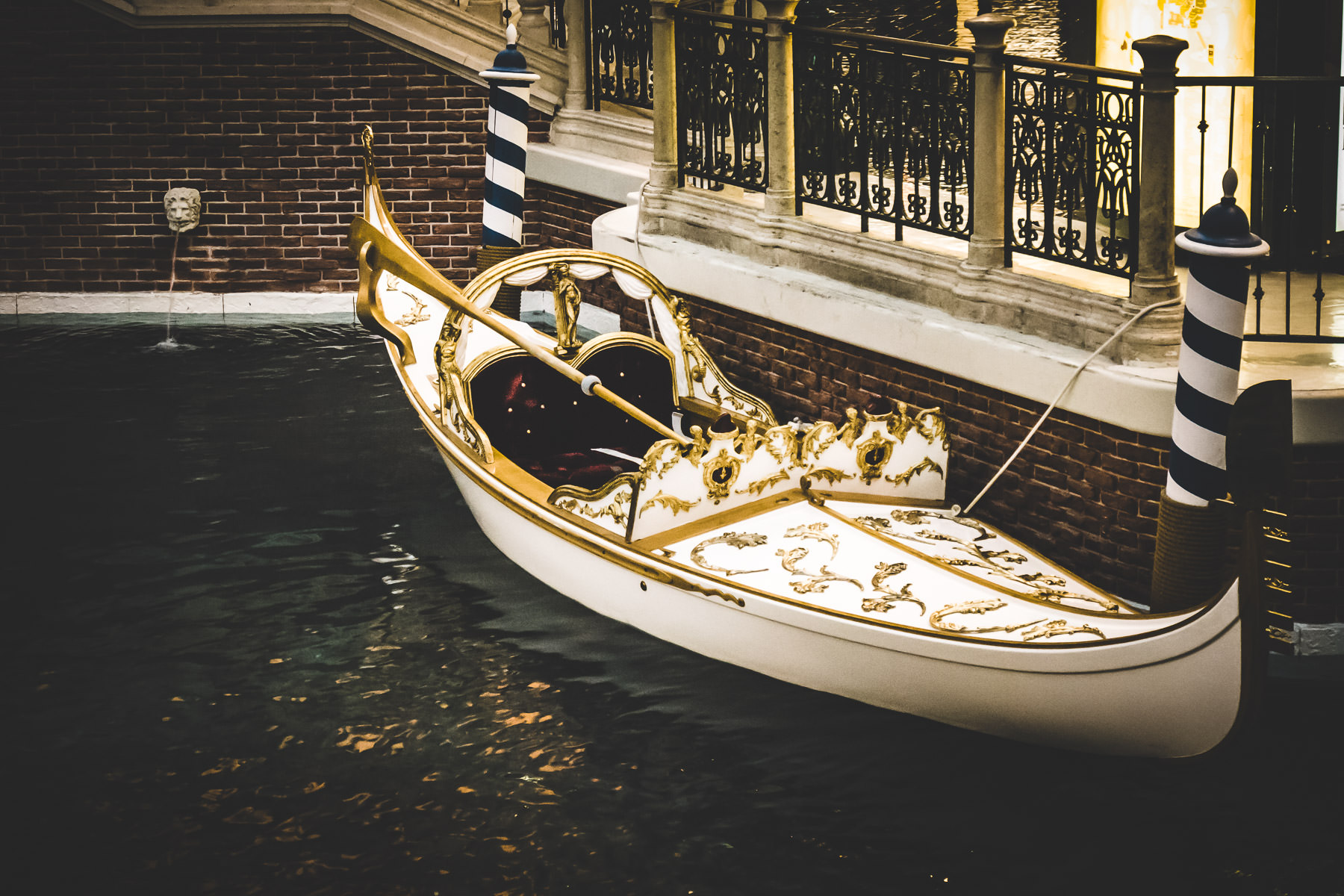 A gondola awaits passengers at the Venetian Las Vegas.