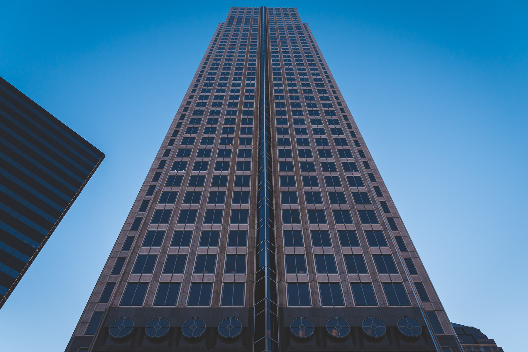 Chase Tower rises 738 feet into the sky over Downtown Dallas.
