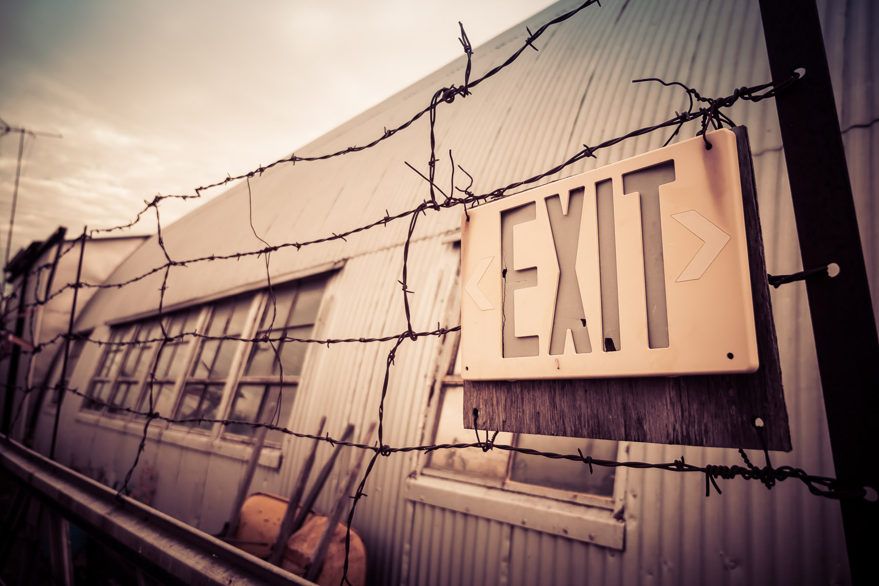 An exit sign at a shop in a Quonset Hut in McKinney, Texas.