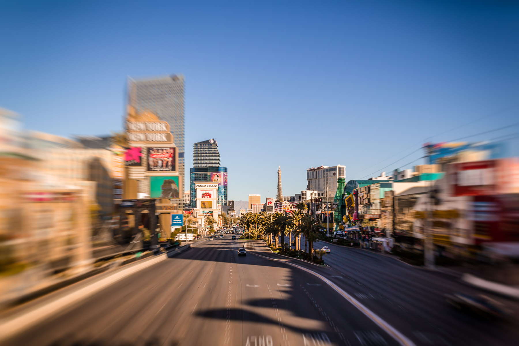 The Las Vegas Strip, as seen from a pedestrian bridge near New York New York Hotel & Casino.