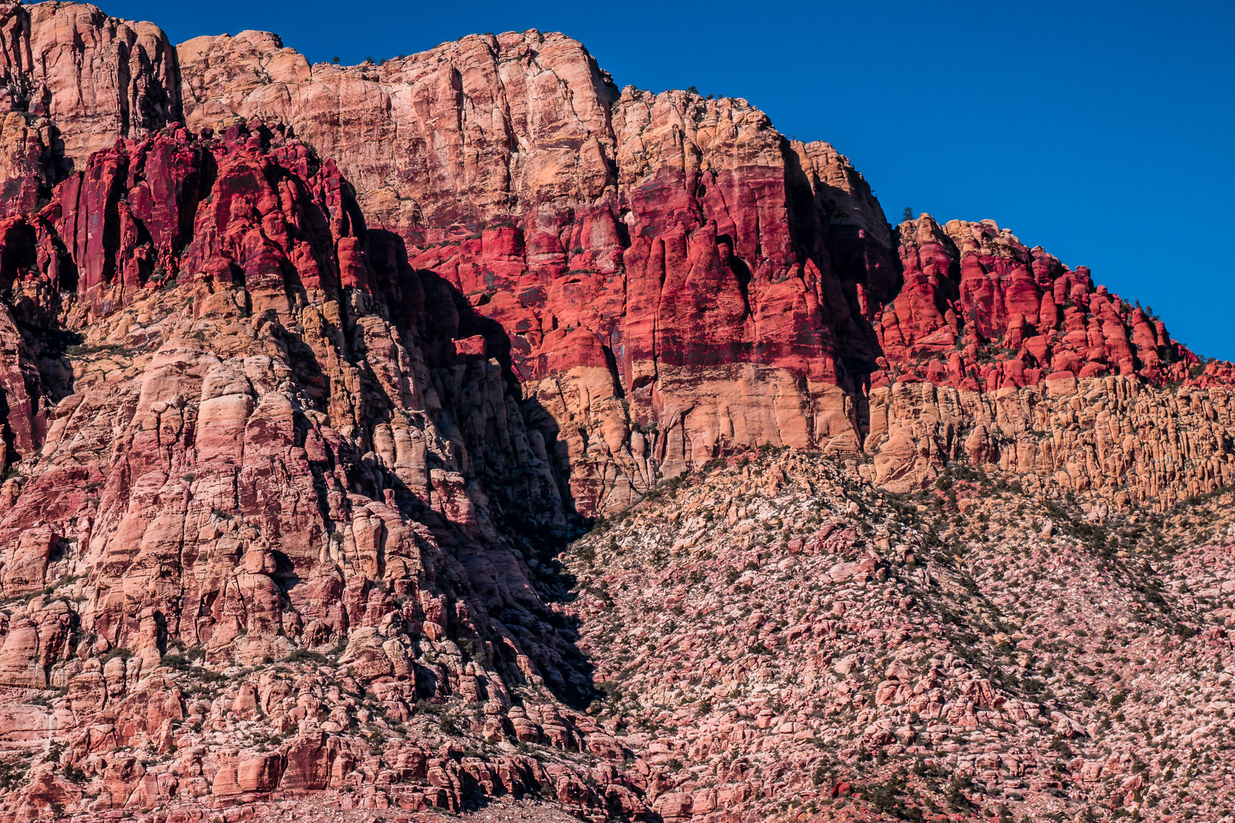 Detail of the layers of rock in a geologic formation at Red Rock Canyon, Nevada.