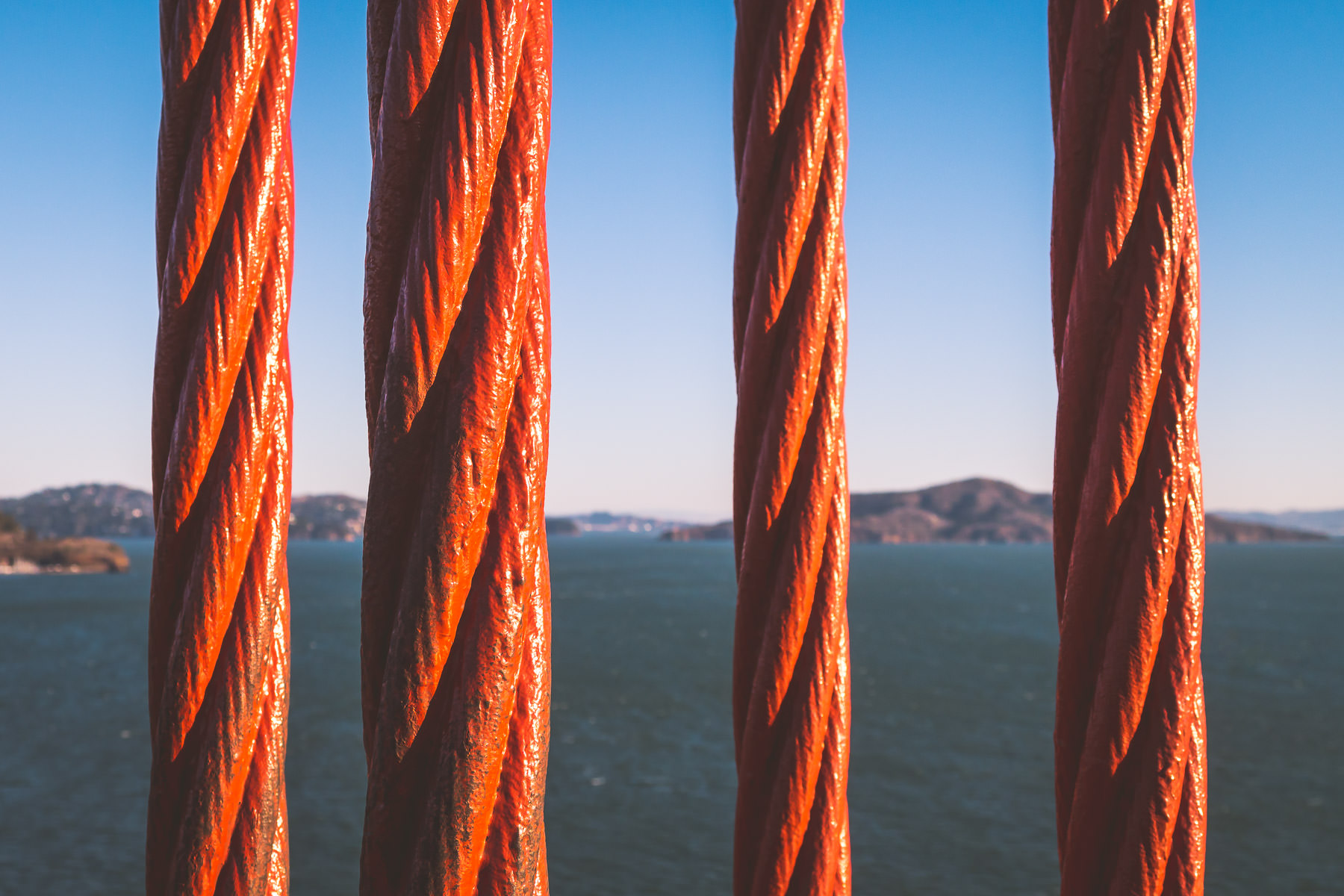Detail of four support cables on San Francisco's Golden Gate Bridge.
