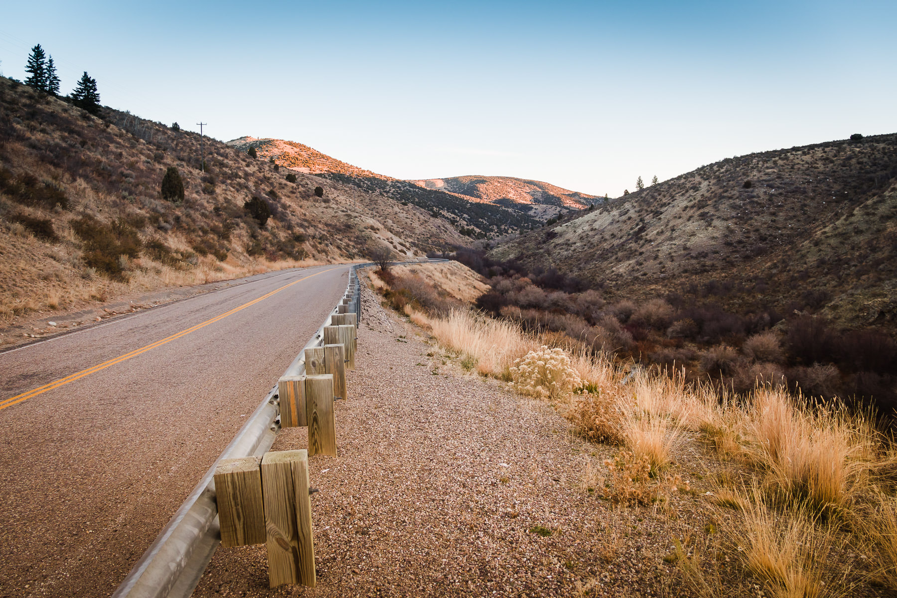 A road winds through the mountainous Cherry Springs Nature Area near Pocatello, Idaho.