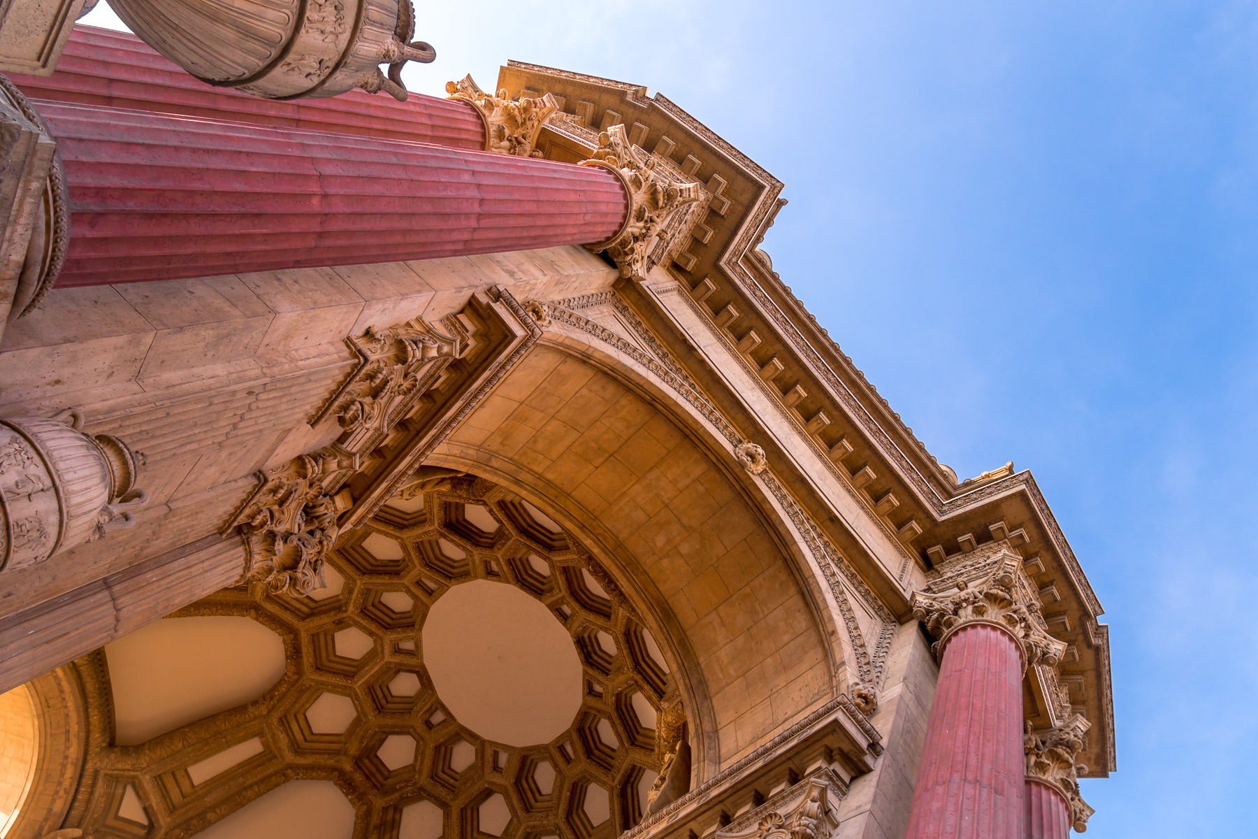San Francisco's Palace of Fine Arts rises into the sky over the Bay Area.