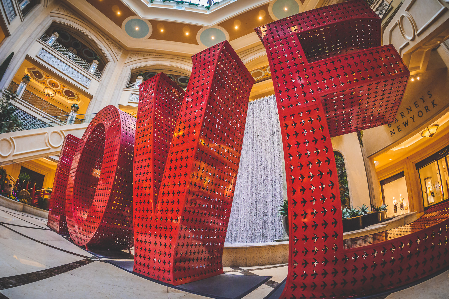 "Giant letters spell ""Love"" in the atrium at the Grand Canal Shoppes, The Venetian, Las Vegas."