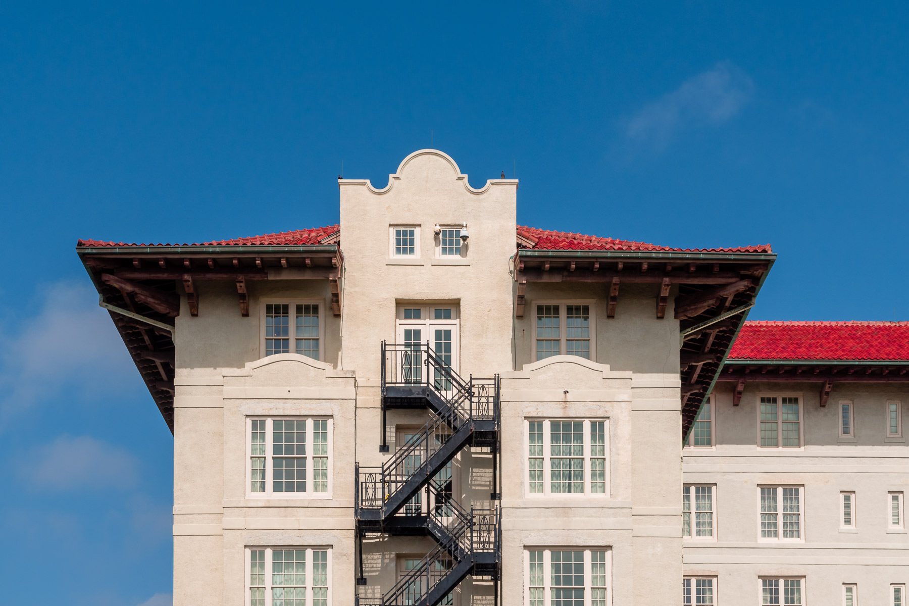 Architectural detail of the historic Hotel Galvez, Galveston, Texas.