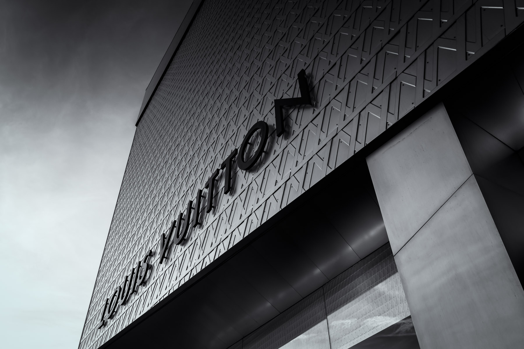 Architectural detail of the Louis Vuitton boutique at The Crystals, CityCenter, Las Vegas.