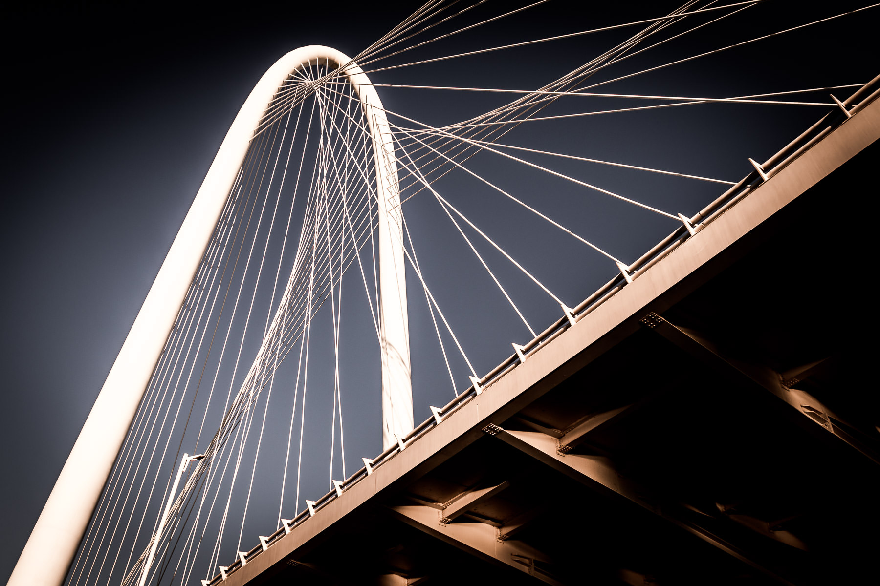 The Santiago Calatrava-designed Margaret Hunt Hill Bridge rises into the sky over Dallas.