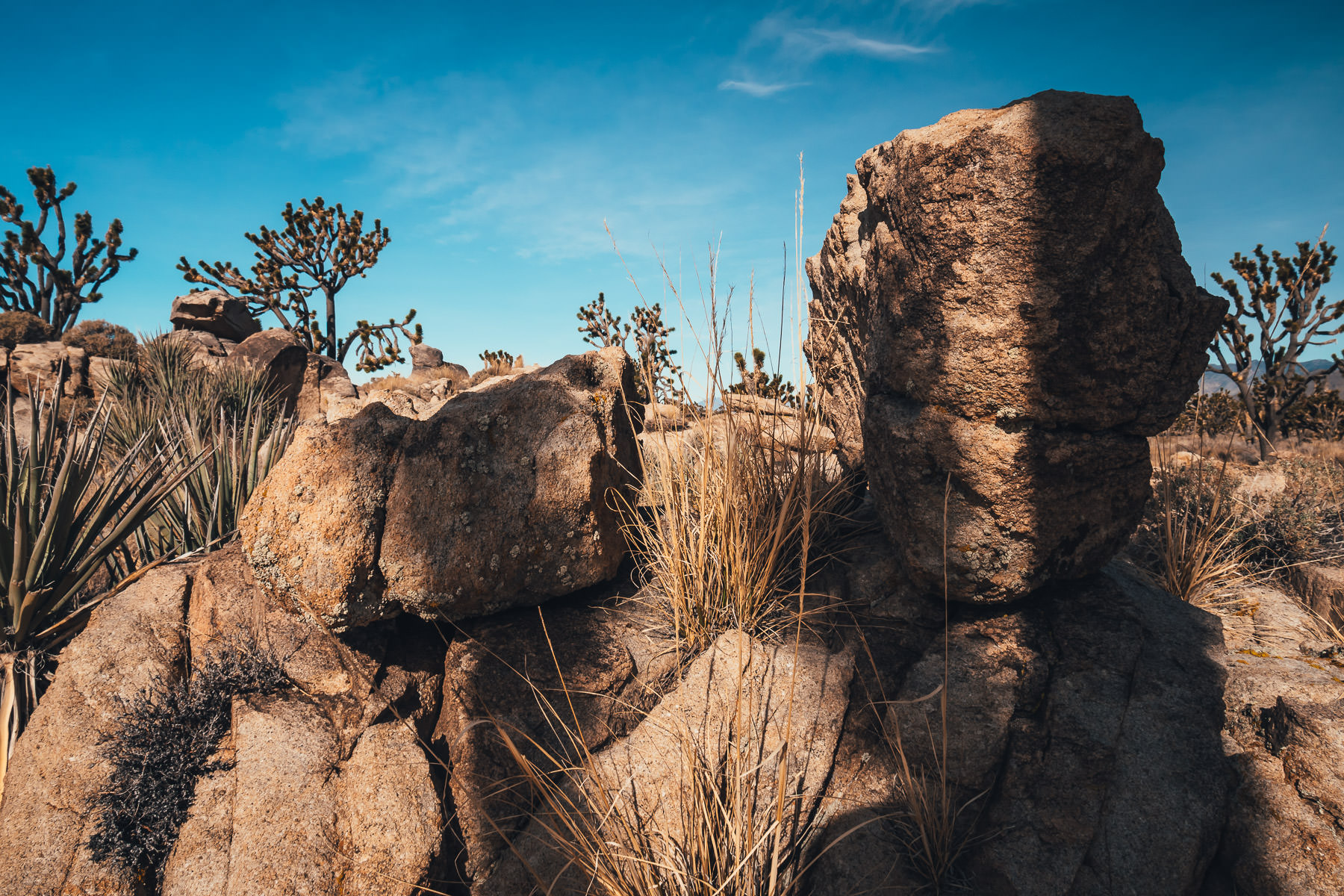 Rocks balance upon one another at the Mojave National Preserve, California.