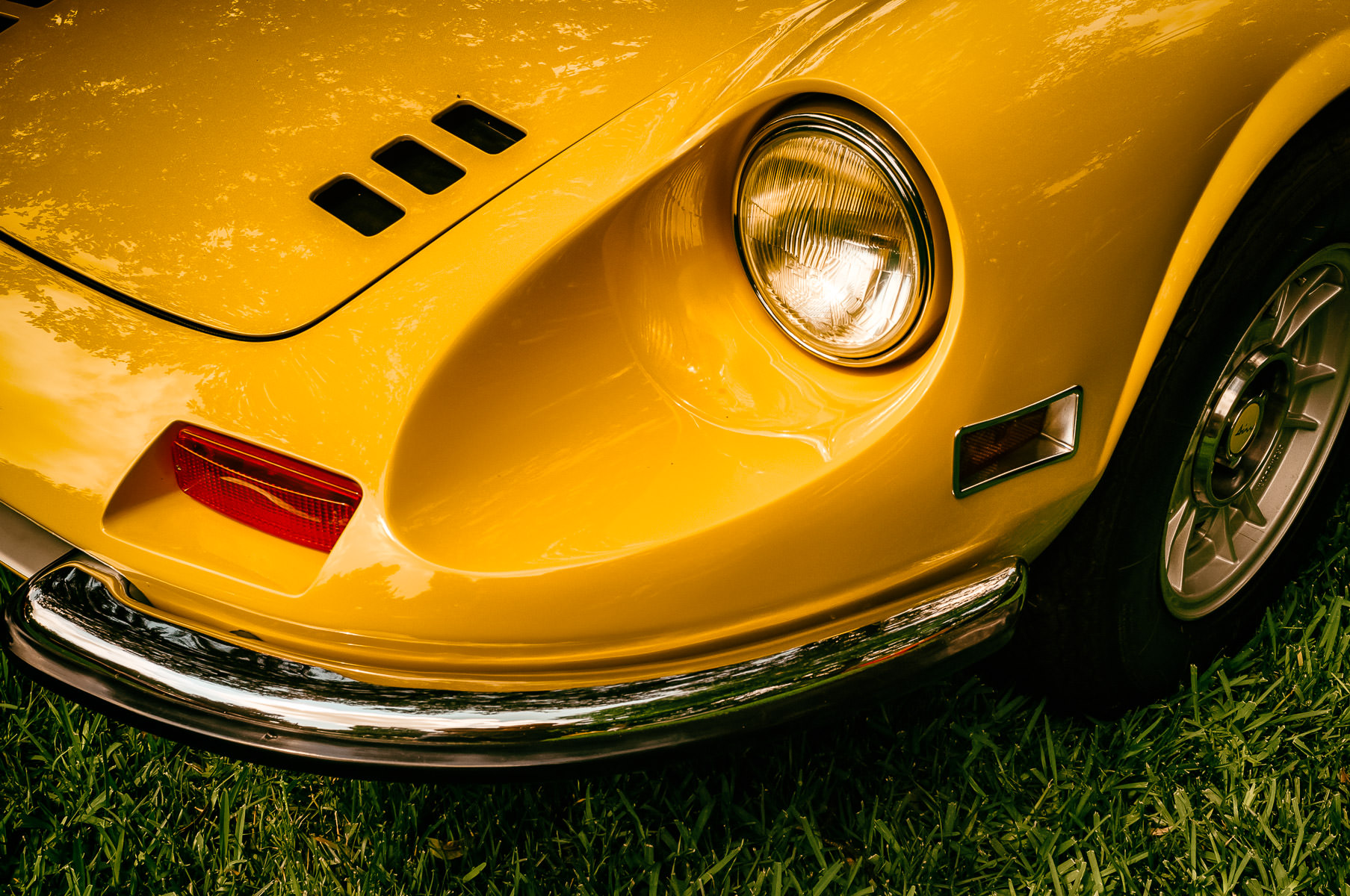 Detail of a classic Ferrari Dino 246 GT, spotted at a Dallas, Texas, area car show.