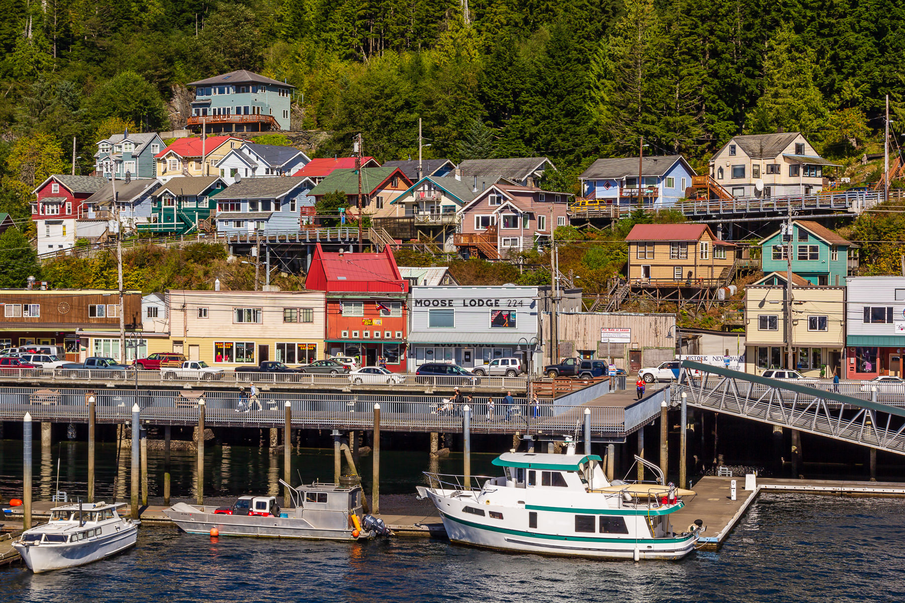 The multi-colored buildings of the Ketchikan, Alaska, waterfront.