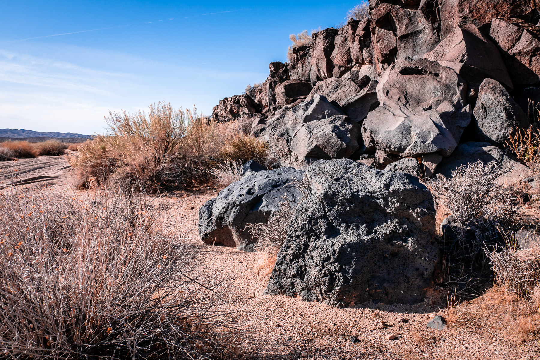 Basalt lava flows in the Mojave National Preserve, California.
