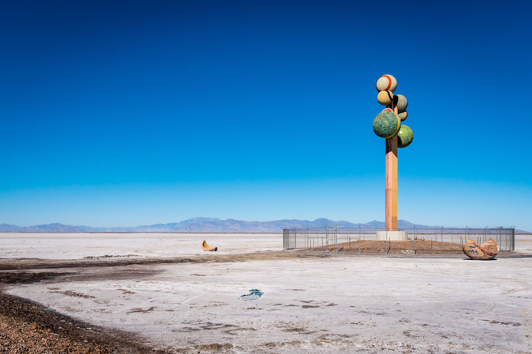 Swedish sculptor Karl Momen's 87-foot-tall Metaphor: The Tree of Utah rises over the desolate emptiness of Utah's Bonneville Salt Flats.