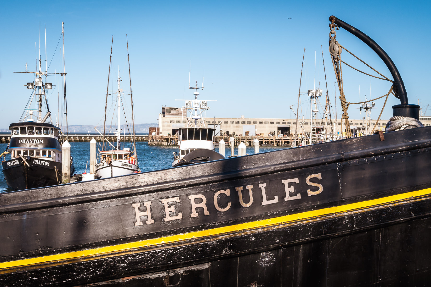 Detail of the 1907 Hercules, a tugboat now moored at the San Francisco Maritime National Historical Park at Fisherman's Wharf.