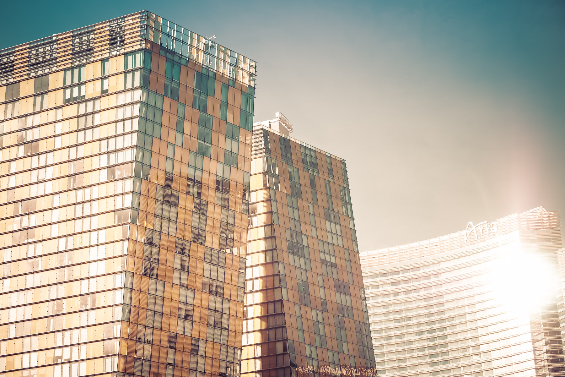 The Veer Towers and the Aria rise into the desert sky at Las Vegas' CityCenter.