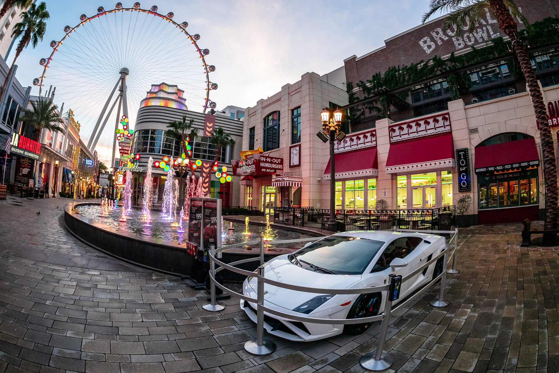 A Lamborghini Gallardo, on display in the early-morning hours at The Linq, Las Vegas.
