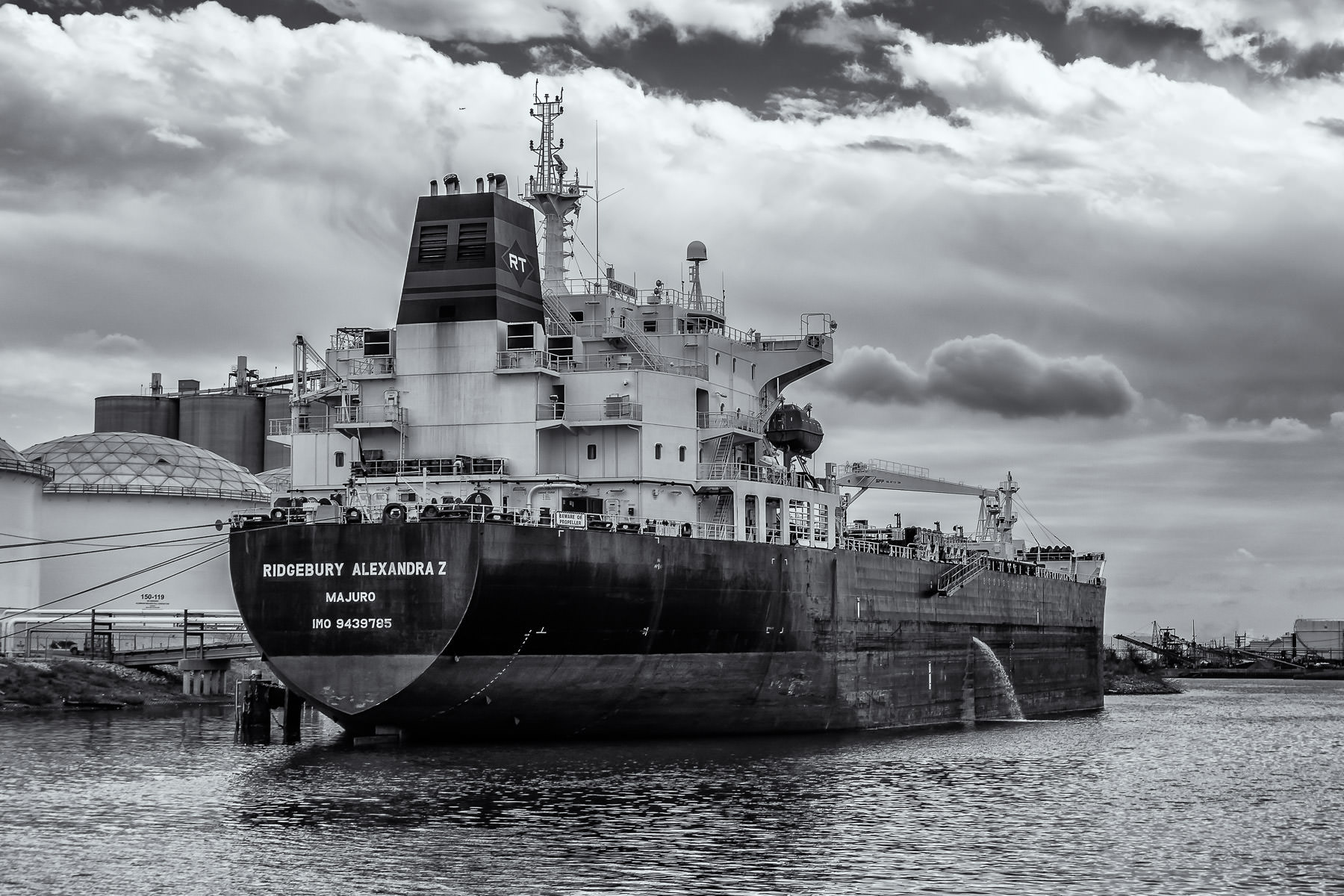 The chemical tankerRidgebury Alexandra Z sits docked in the Houston Ship Channel, Texas.