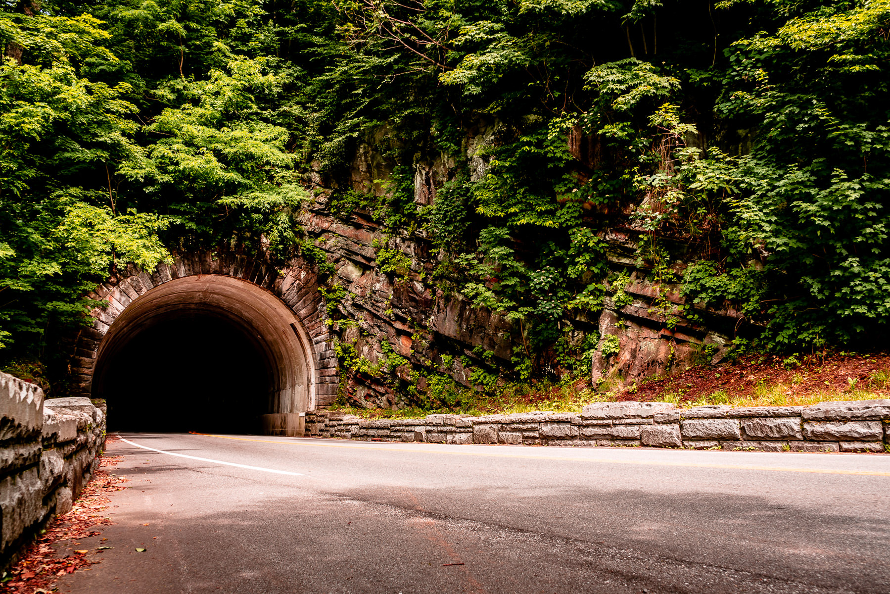 The entrance to a tunnel in the Great Smoky Mountains National Park, Tennessee.