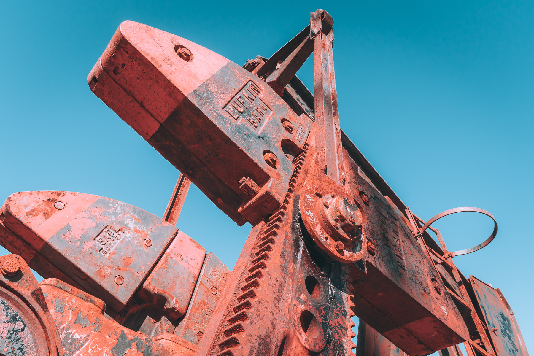 Detail of a rusted pumpjack at the Hagerman National Wildlife Refuge, Texas.