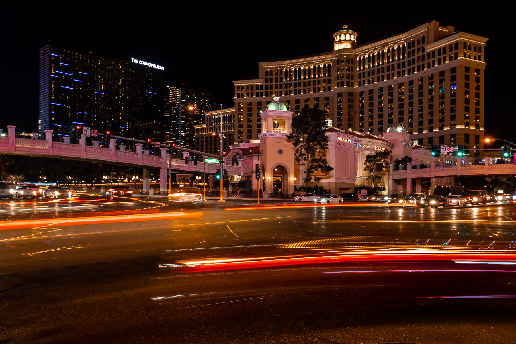 A long exposure shot of the intersection of Flamingo Road and The Strip, Las Vegas.