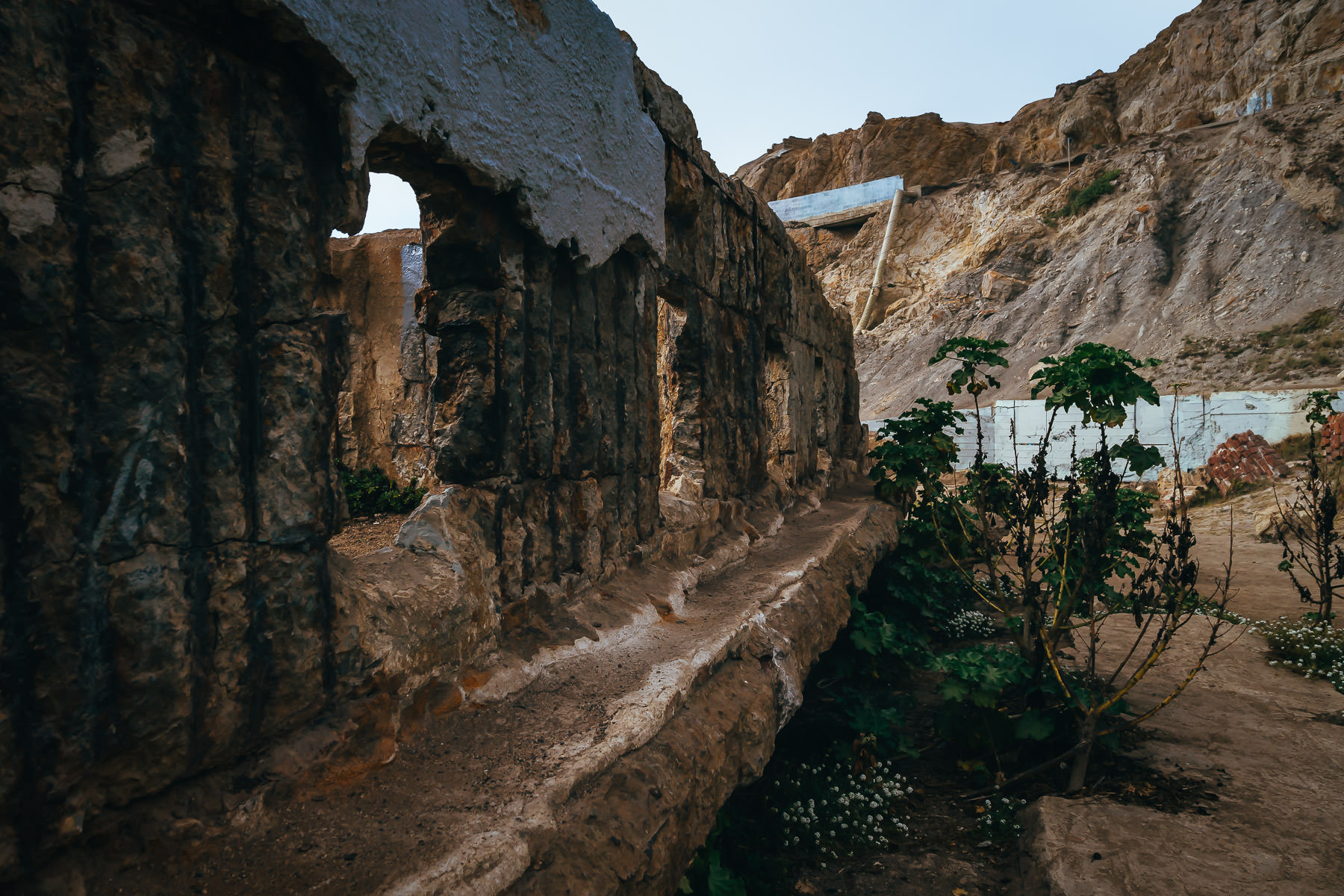Detail of the ruins of San Francisco's Sutro Baths at Lands End.