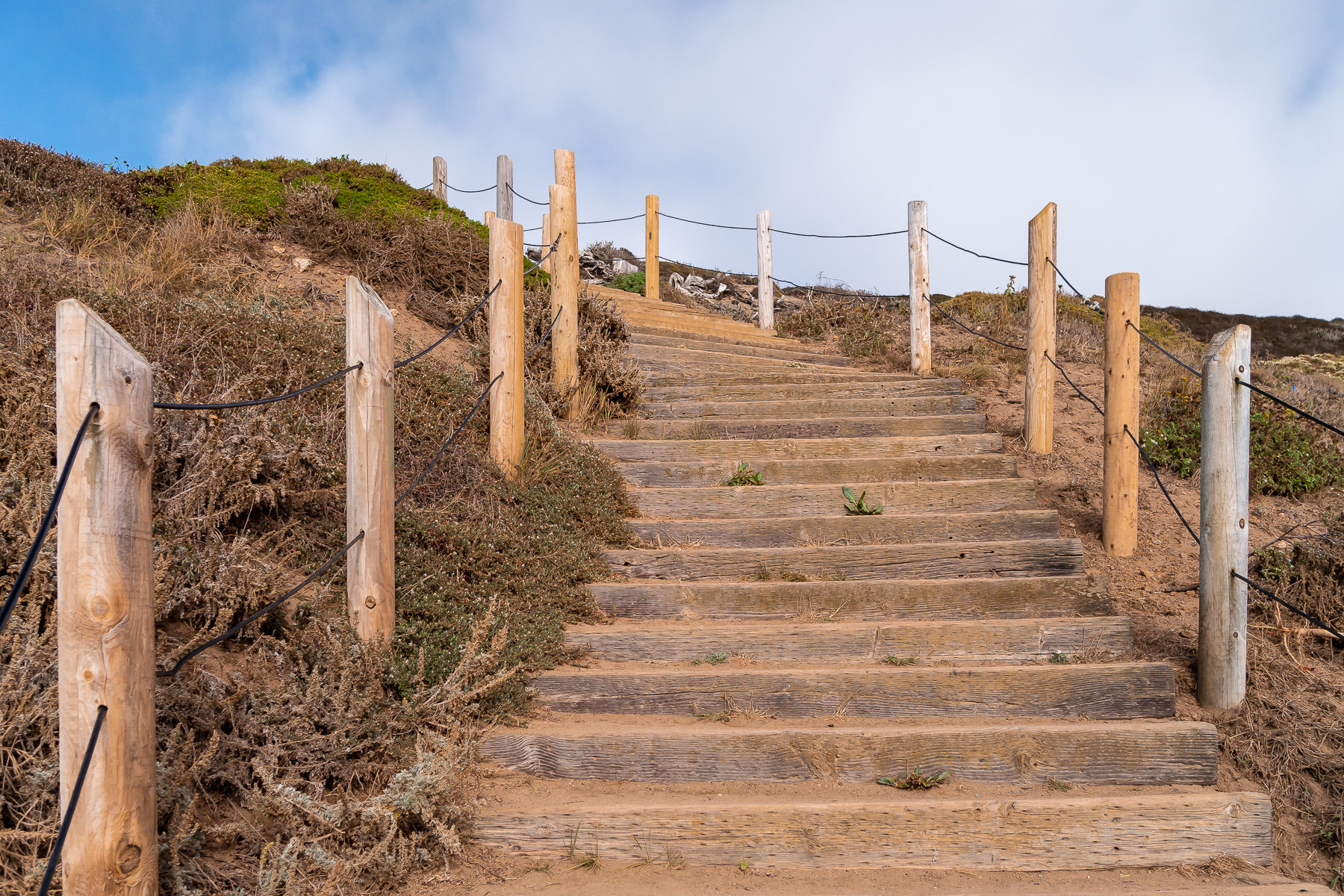Stairs ascend a hill at Lands End near the Sutro Baths ruins in San Francisco.