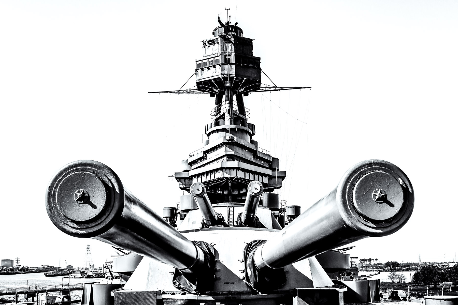 The 14-inch main guns, which could fire 1,400 lb. shells 13 miles, of the battleship USS Texas, now on display as a museum ship near Houston.