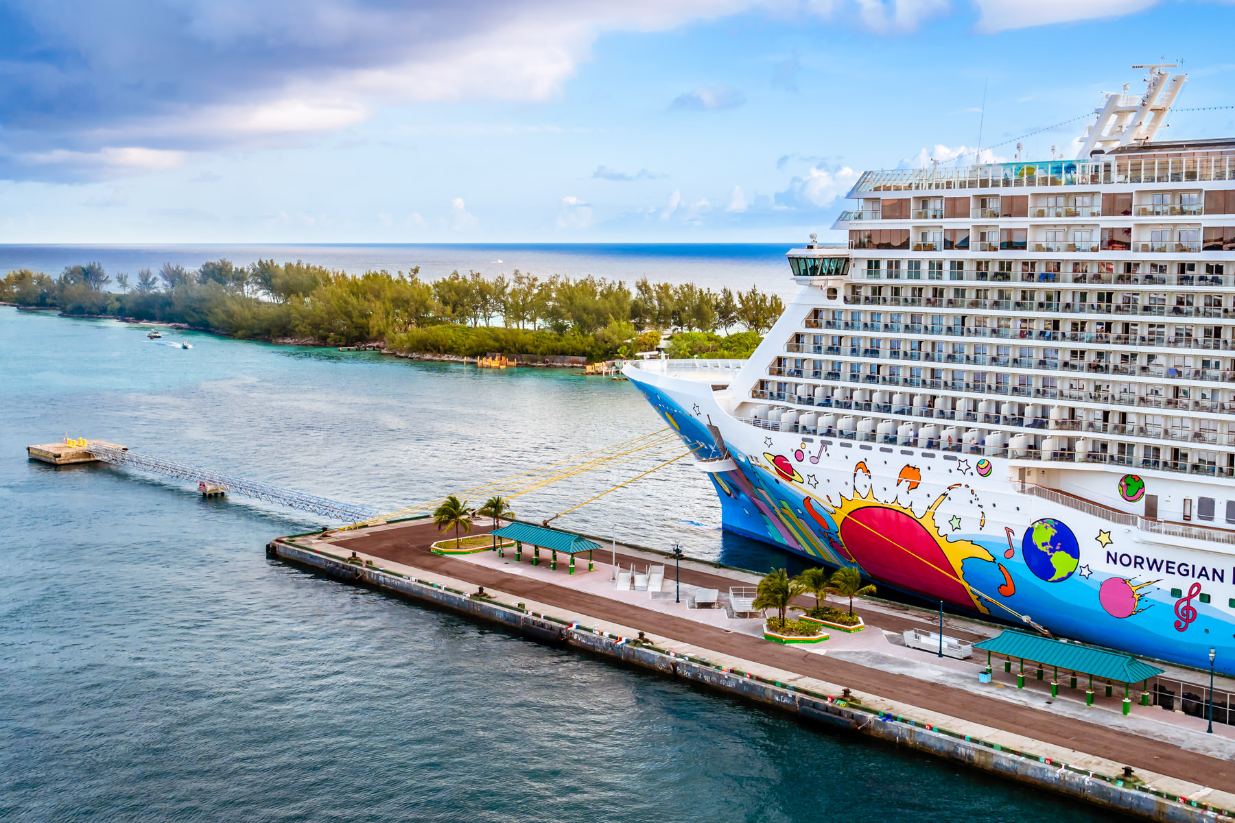 The colorful cruise ship Norwegian Breakaway, docked in Nassau, Bahamas.