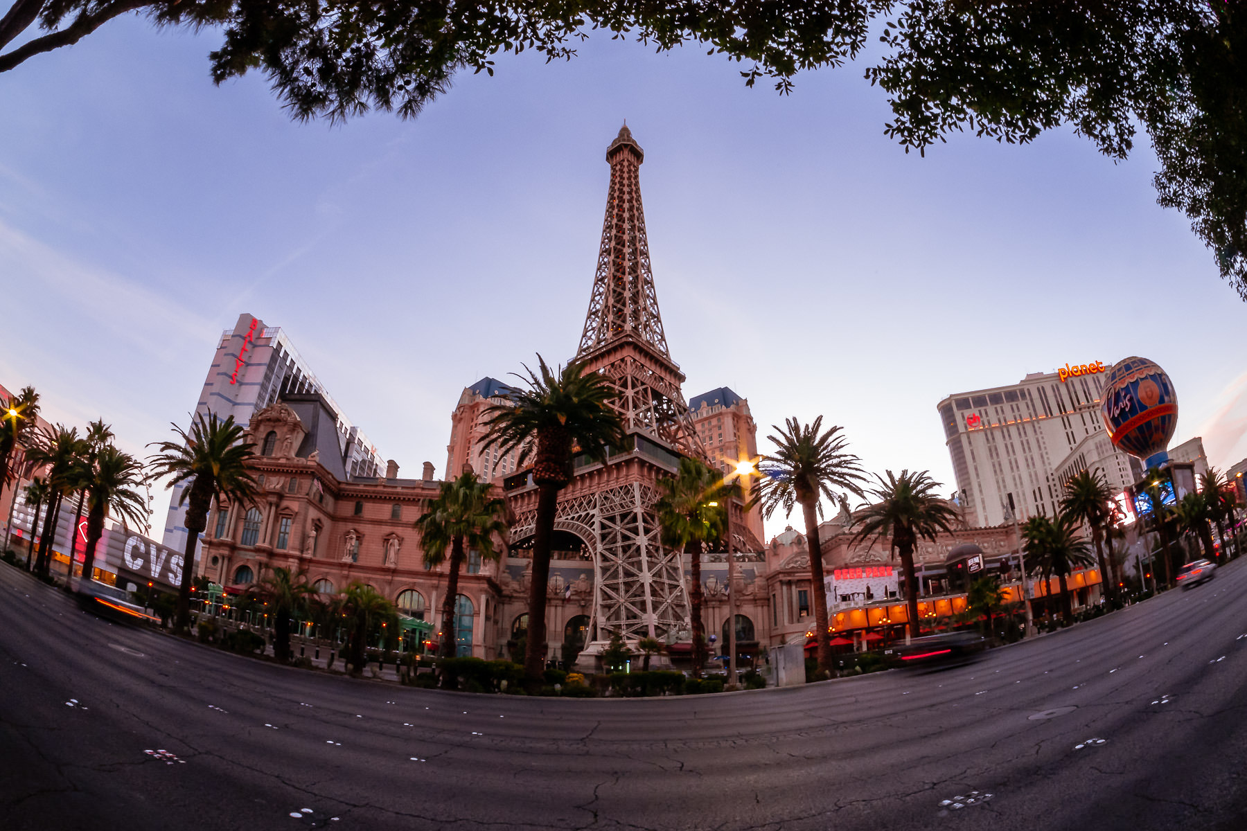 The replica Eiffel Tower at Paris Las Vegas rises into the morning sky.