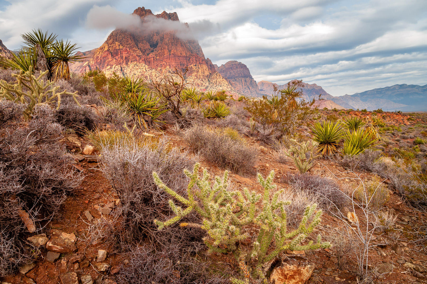 Clouds roll over the arid landscape of the Spring Mountains at Spring Mountain Ranch, Nevada.