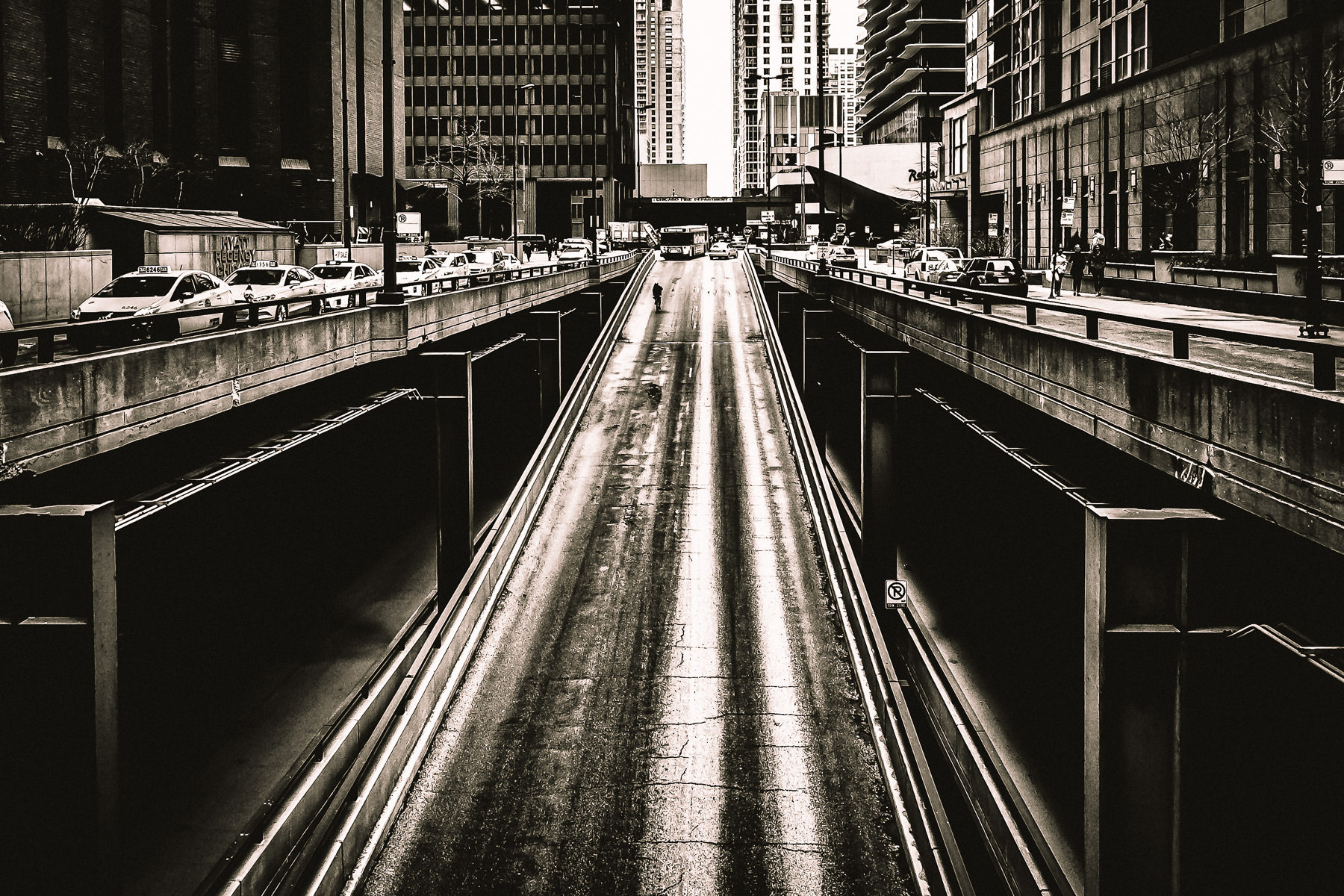 A ramp extends to Lower Water Street in Downtown Chicago.