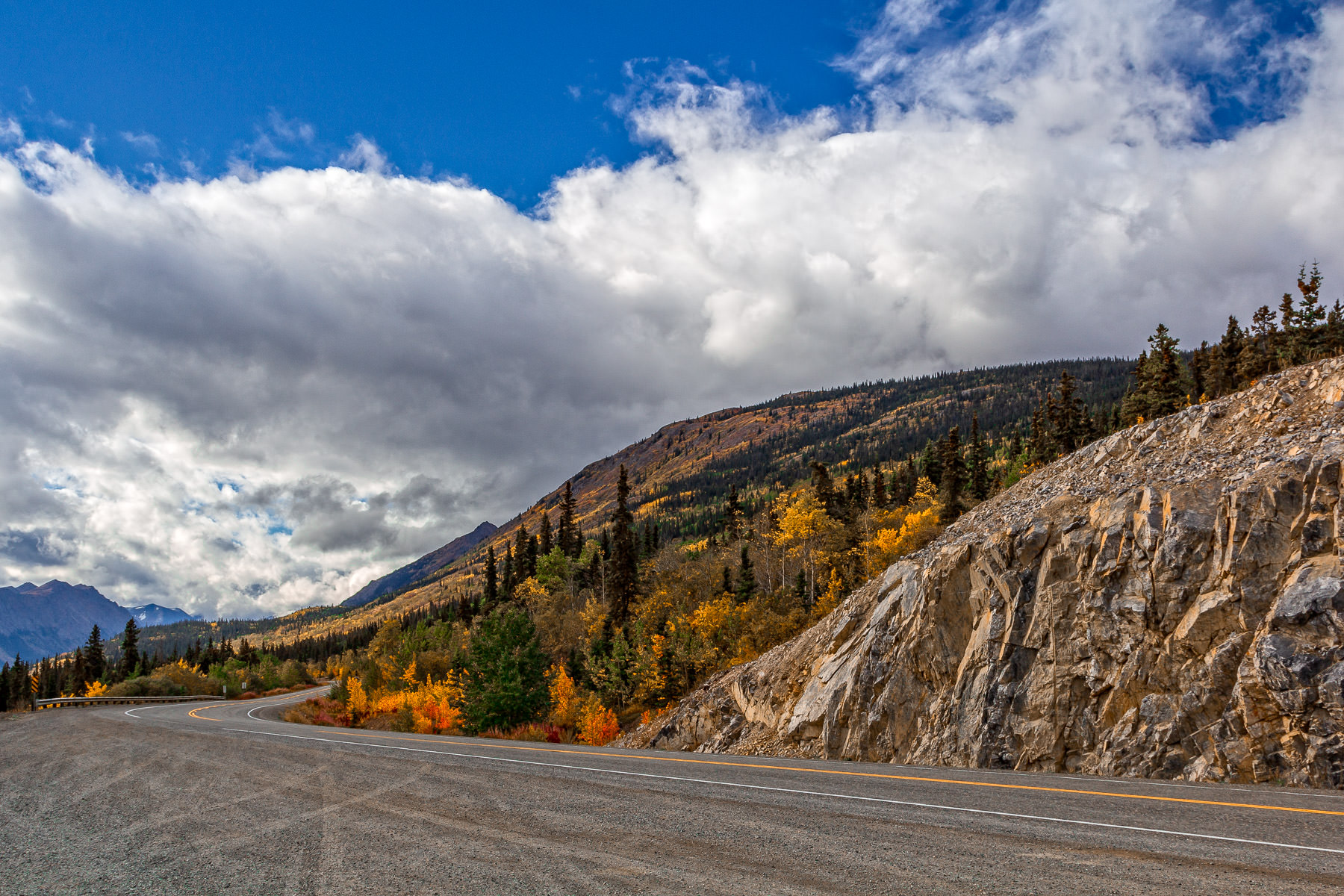 The Klondike Highway snakes around the mountains of the Yukon Territory, Canada.