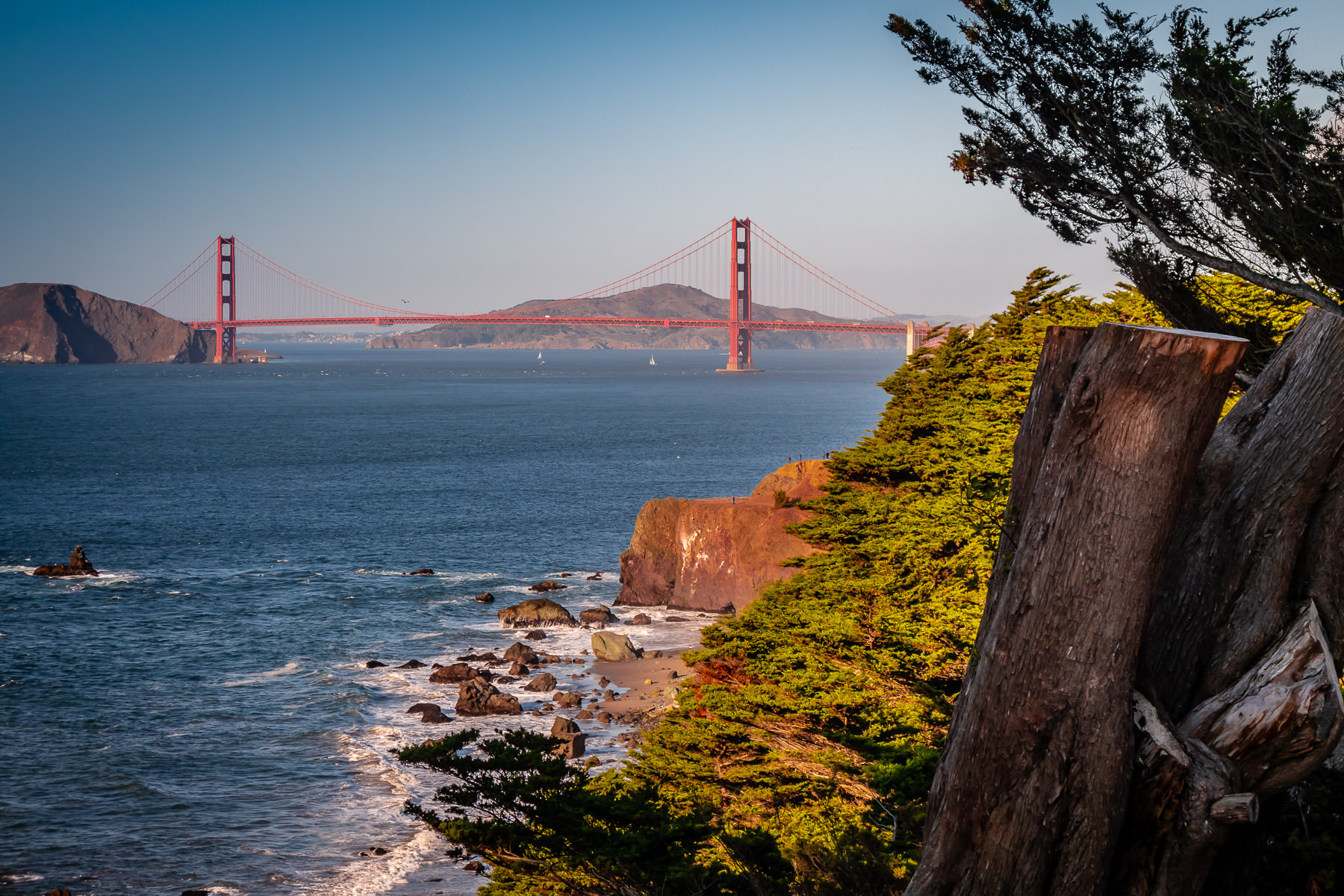 San Francisco's iconic Golden Gate Bridge, as seen from nearby Sea Cliff.
