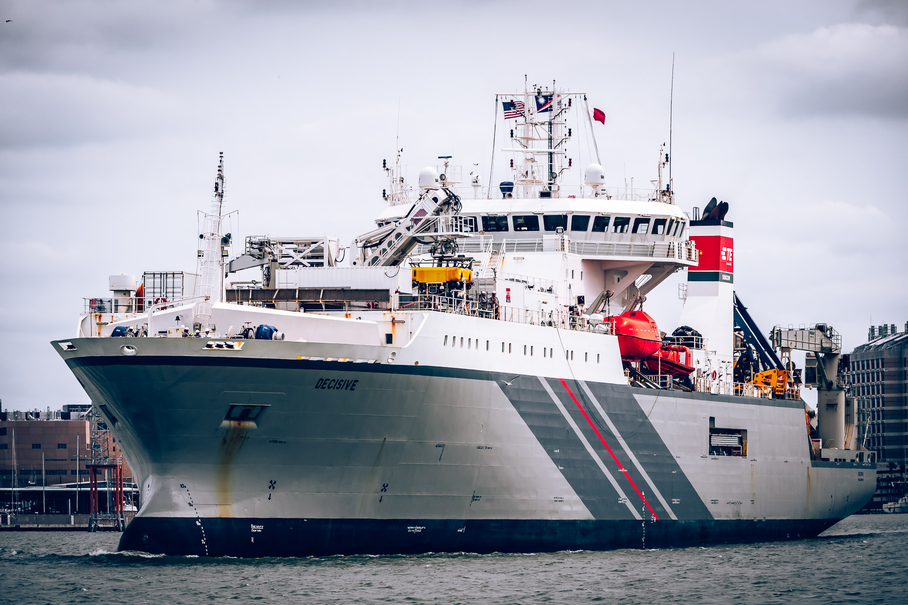 The cable-laying shipDecisive heads out of port at Galveston, Texas.