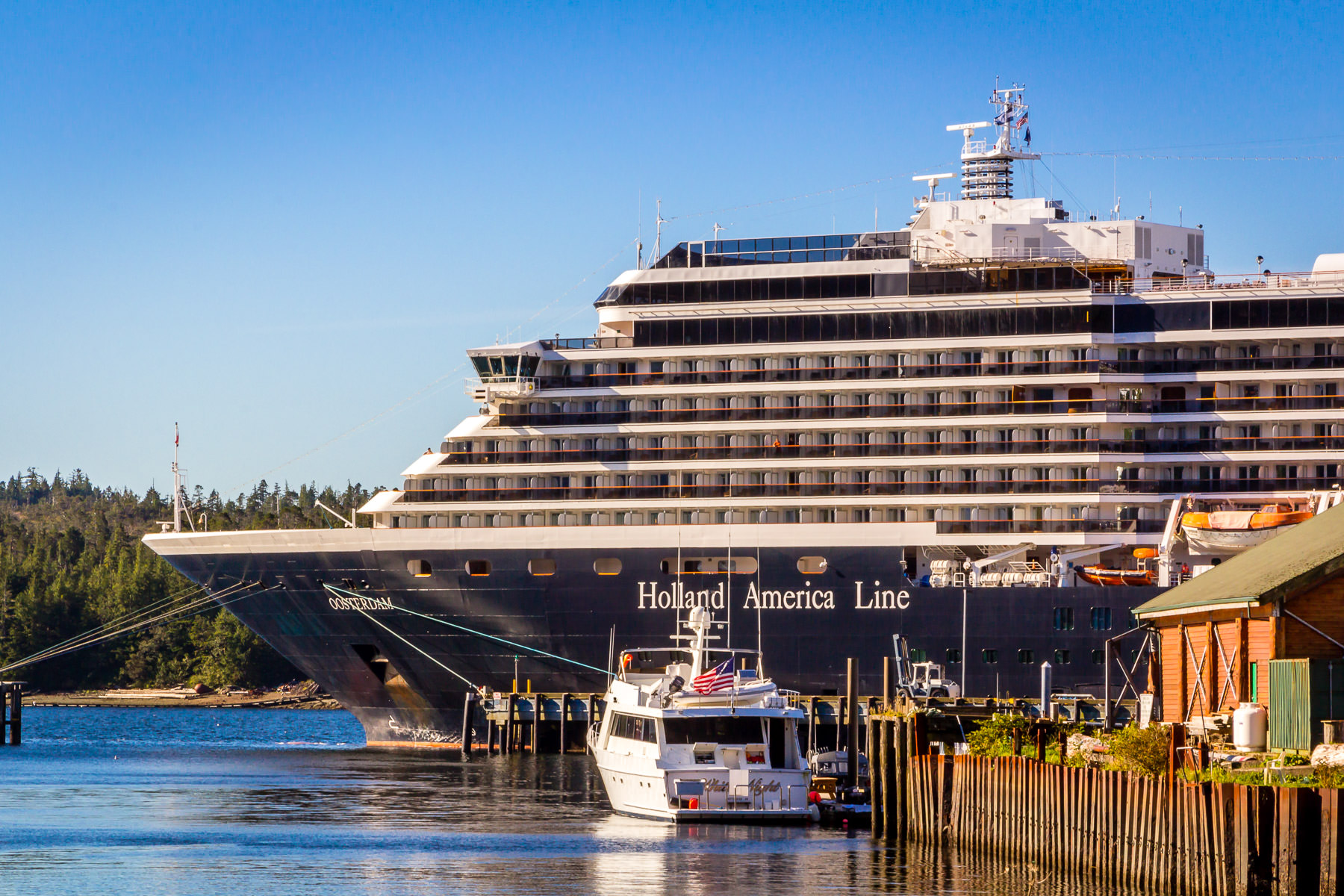 The Holland America Line's cruise ship Oosterdam, docked in Ketchikan, Alaska.