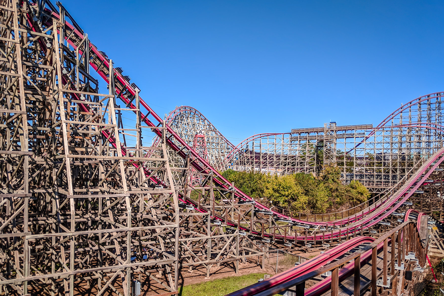 The complex wooden structure of the Texas Giant at Six Flags Over Texas, Arlington.