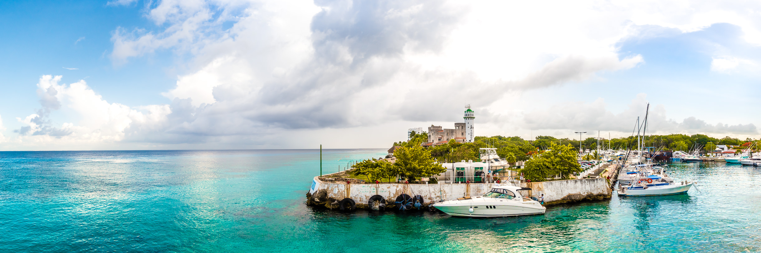 A small marina at the northern end of San Miguel de Cozumel, Mexico.