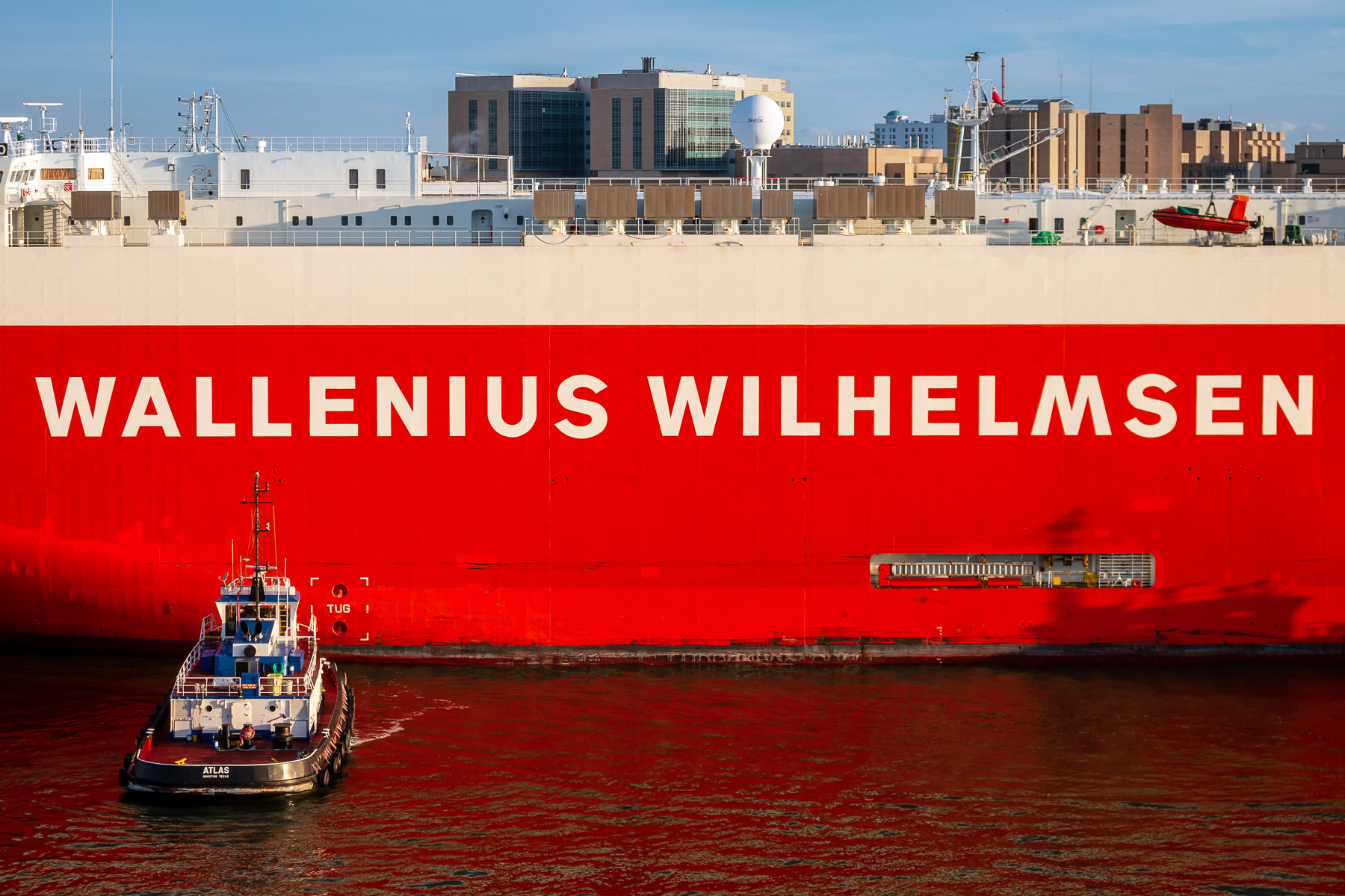 Detail of a Wallenius Wilhelmsen roll-on/roll-off vessel in the Port of Galveston, Texas.