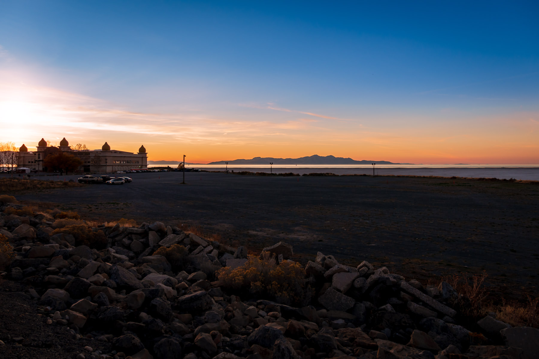 The sun sets on the Saltair concert venue along the southern shore of Utah's Great Salt Lake near Tooele.
