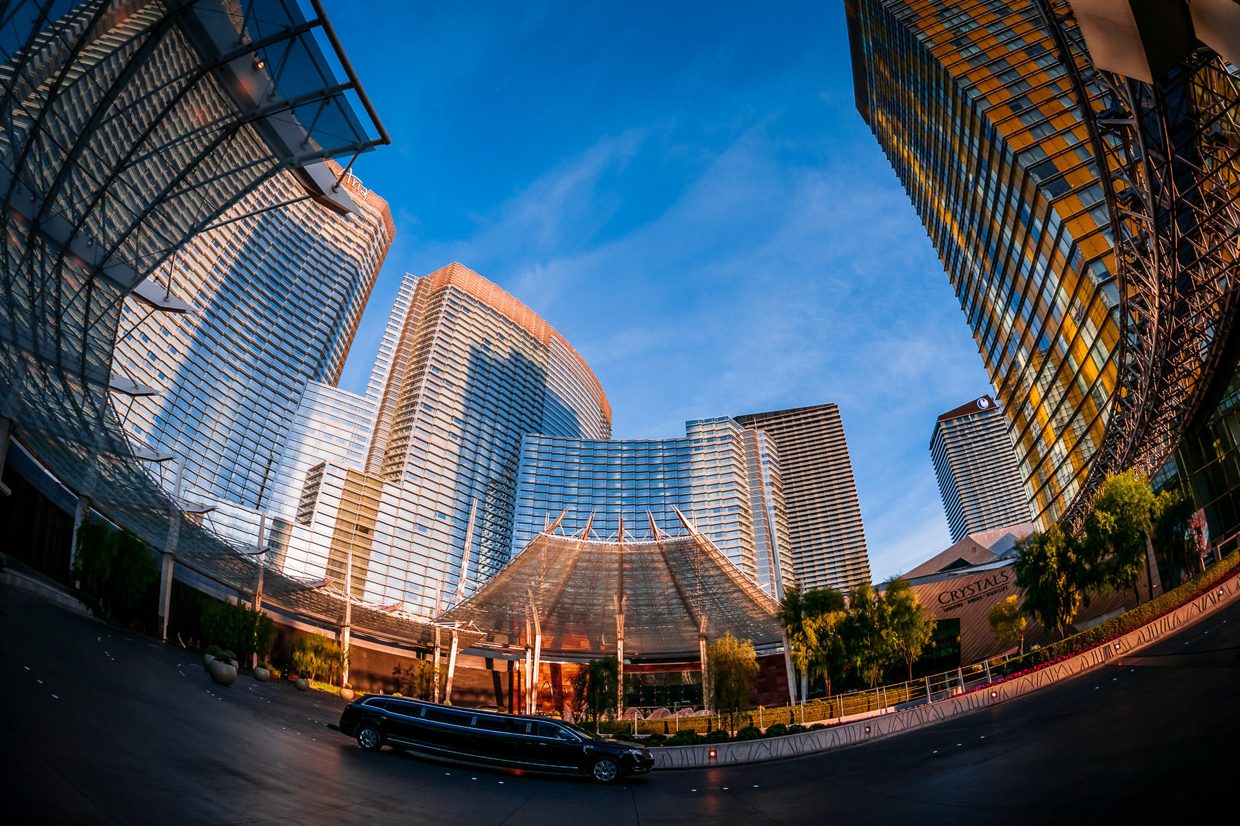 A limousine drives through the circular driveway at Las Vegas's Aria at CityCenter.